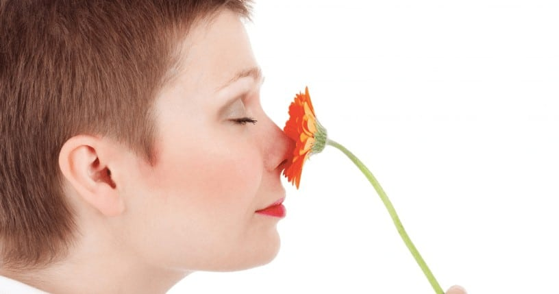 Women Nose smelling flower